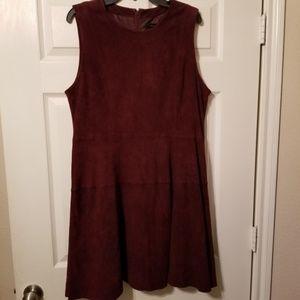 18W Ann Taylor burgundy suede sleeveless sheath